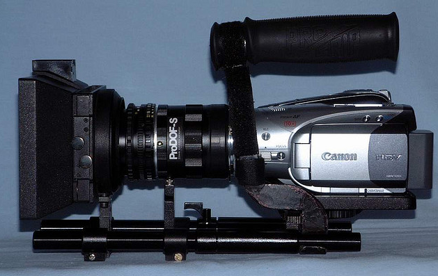 The Canon HV20 with lots of attachements.