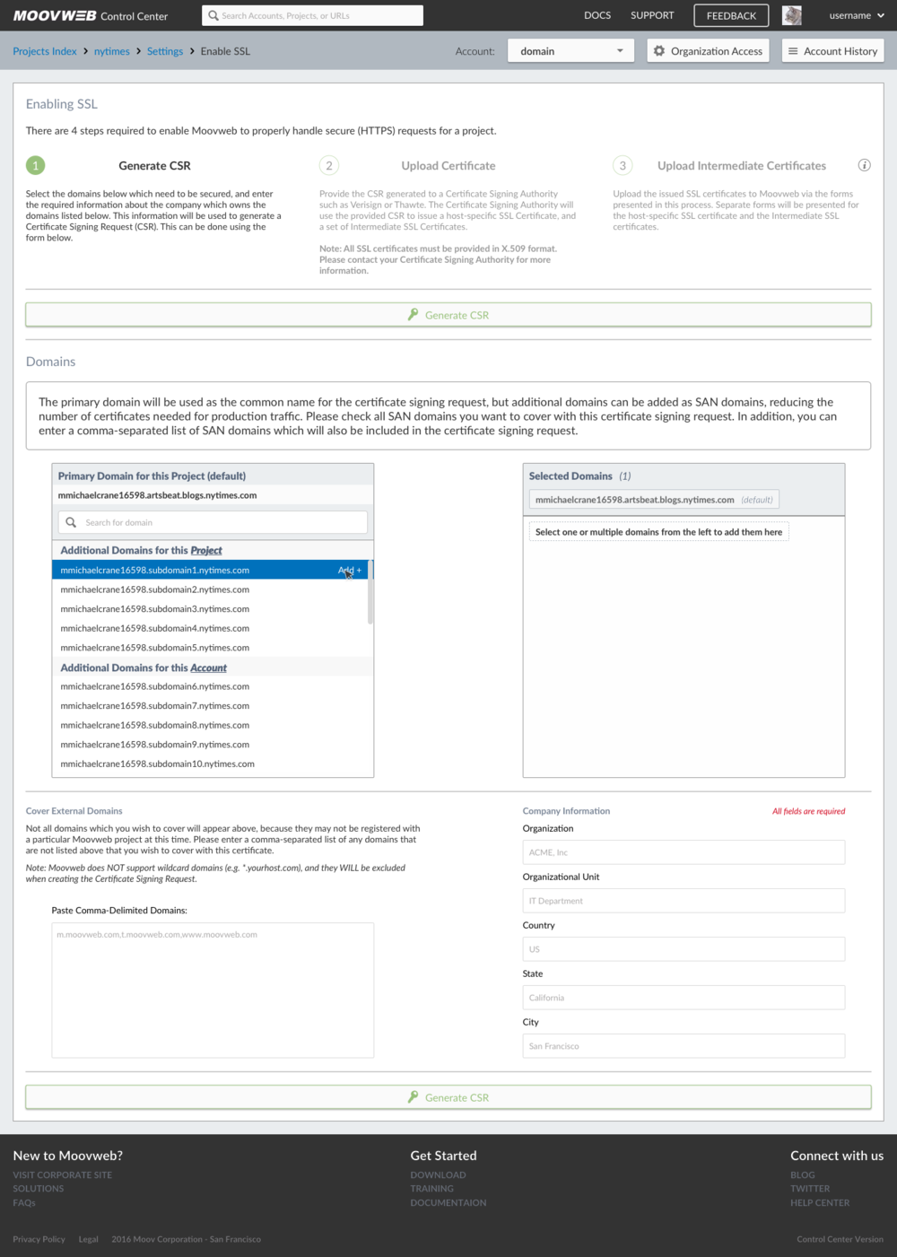 Generate CSR - Domain - Hover