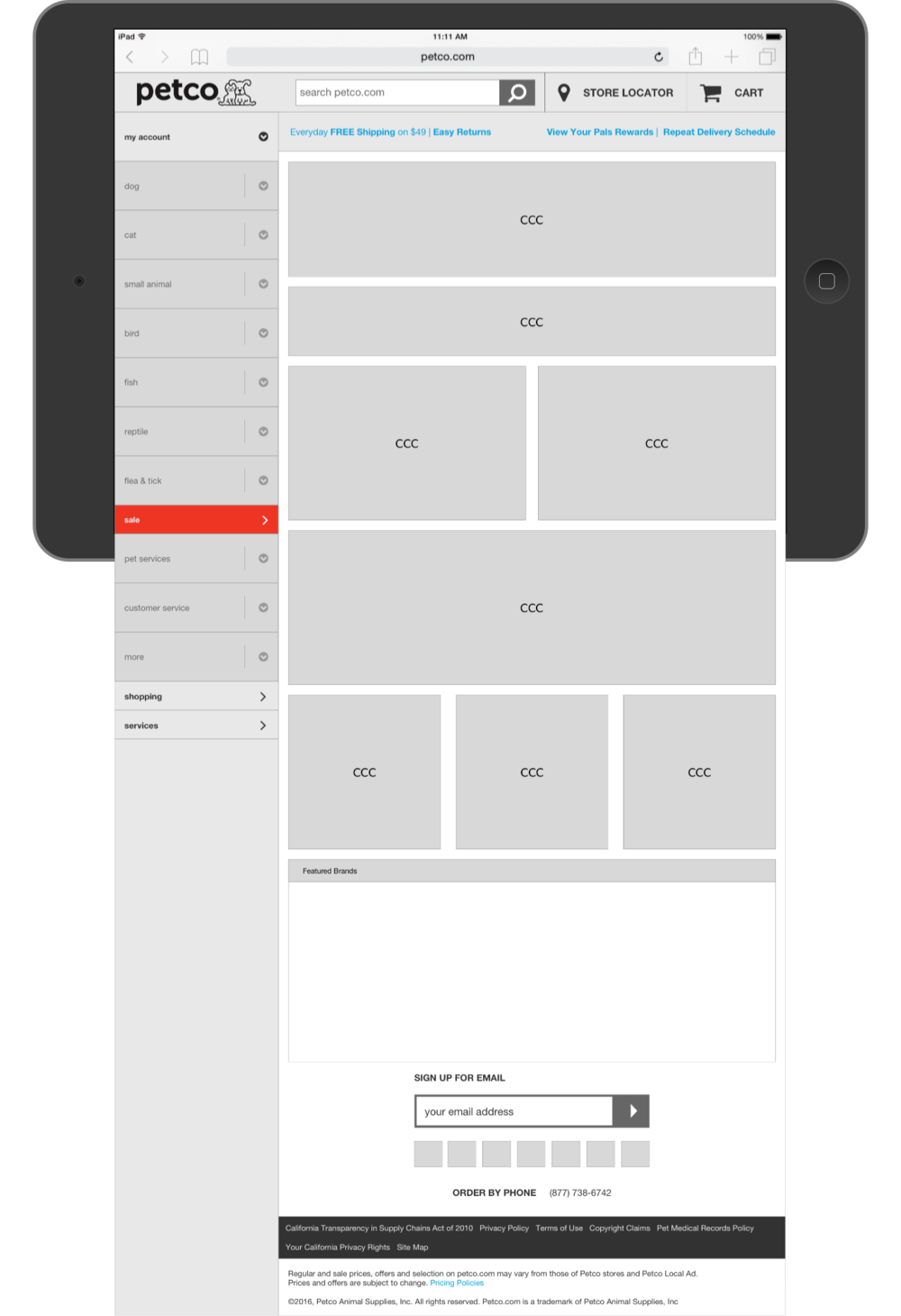 Petco Landing Page Wireframe