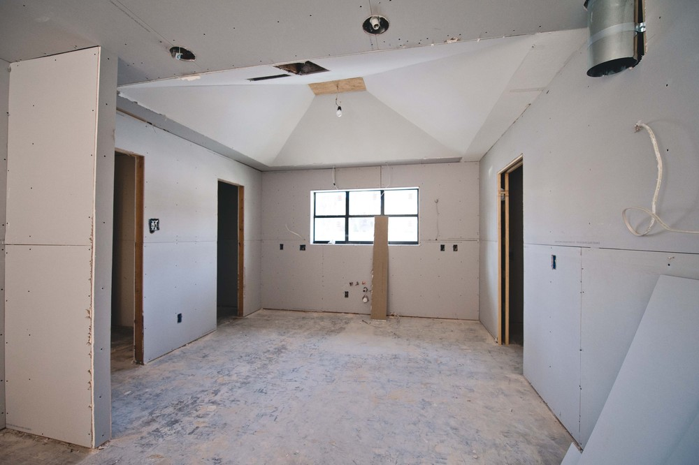 Straight ahead is where the kitchen sink will set, for reference.  Yay for drywall!