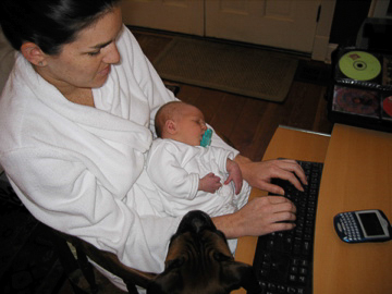 Mom tried keeping up with work while on maternity leave.