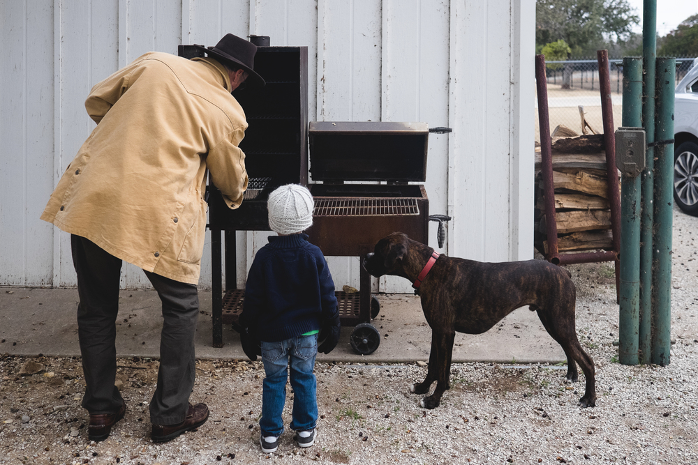 Time to get the ribs smokin'.  Brisket was anxious to learn as well.