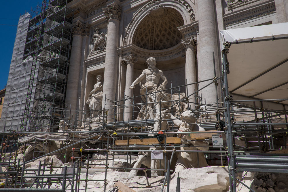 Scaffolding.  And maybe the Trevi Fountain.