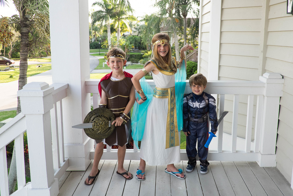 We were sad to miss our neighborhood's Halloween celebration, but Hercules, Cleopatra and Captain America discovered the wonders of Trunk or Treating and then canvased as many of the homes nearby our rental as they could.  Just like at home, there was one house giving our full-sized candy bars.  Yum.