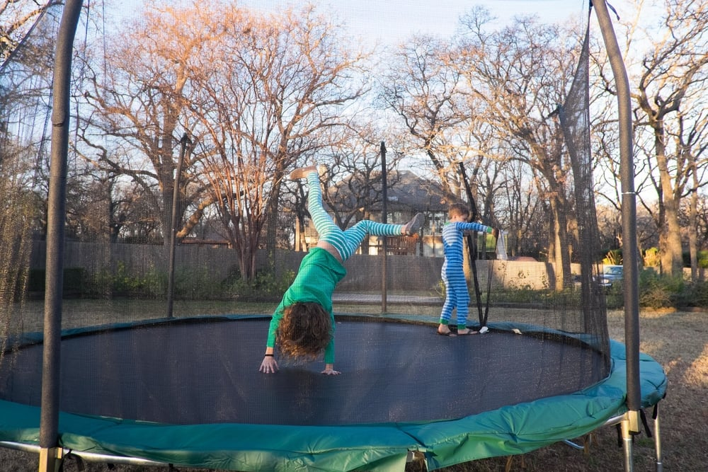 It took approximately 20 days between Santa bringing the trampoline and our first trampoline-related Urgent Care visit.  And eight of those days, we were out of town at the lake.   I know, I know.