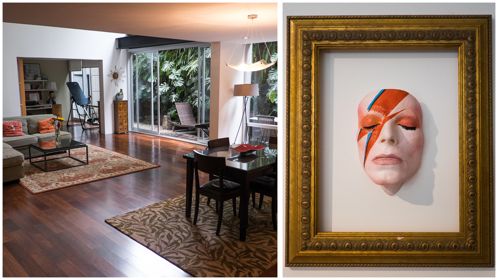 Our hosts' beautiful home in Polanco -- with one special detail I had to include for my sister -- a limited edition David Bowie mask made from an original cast.