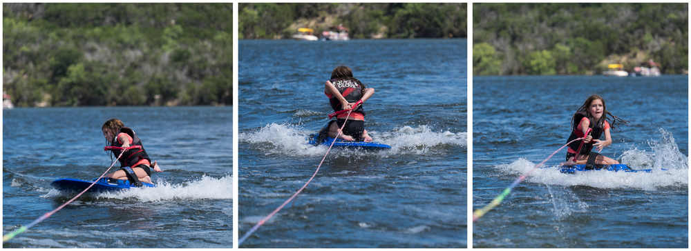 Ella managed a 360 on her second time ever riding on the knee board.  Show-off that she is.