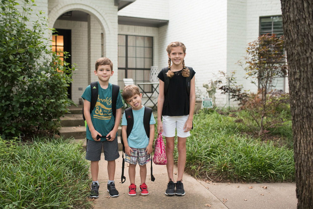 First day of schooooooool!  I made my sleepyhead pre-Kr, 2nd grader and 5th grader pose for a few photos before walking to school with the rest of the neighborhood kids.