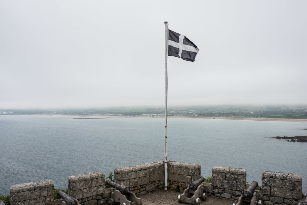 The people of Cornwall often see themselves as being separate from England; this is their Cornish flag.   Being from Texas, we could relate.