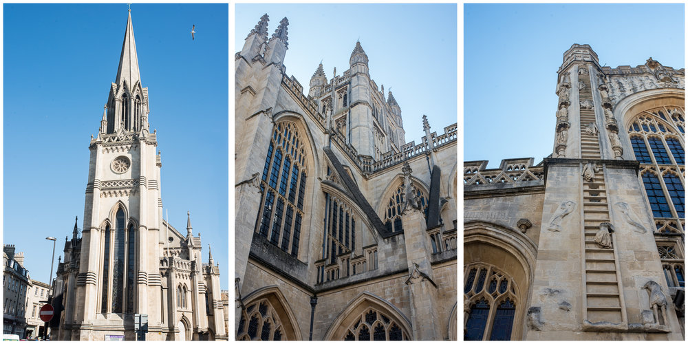 Here is Bath Abbey.  Well, not the one on the left, that's just another church in Bath.  But the two on the right are definitely the Abbey.  On the far right, you can see angels climbing their way to Heaven.