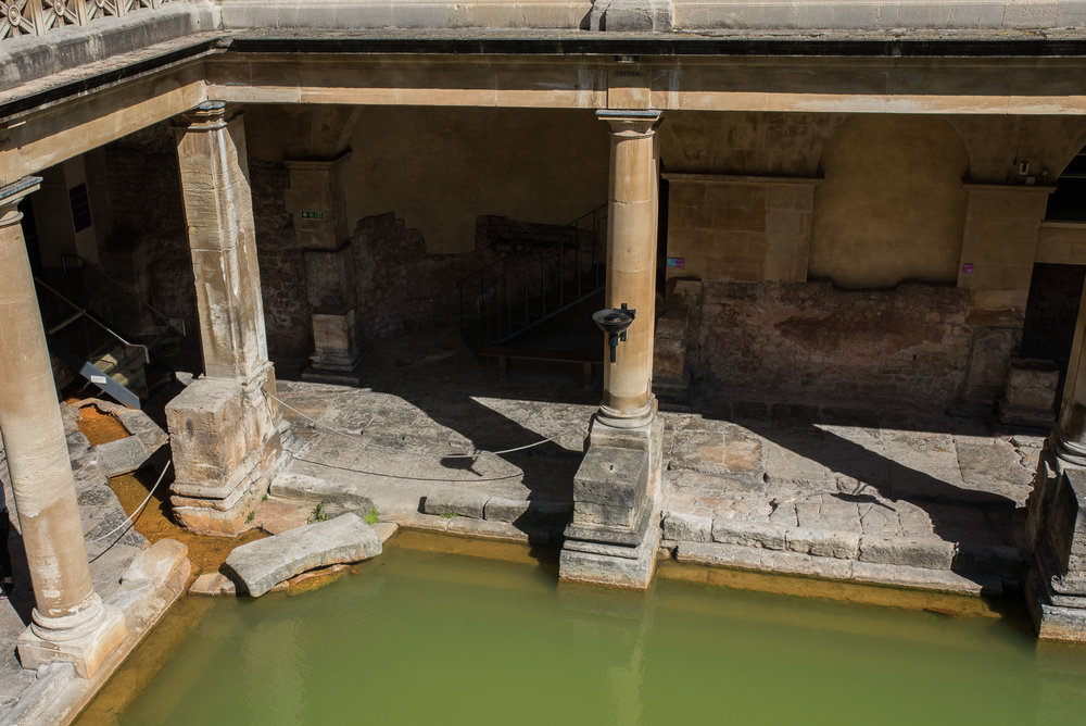 In this corner, the water flows directly from underground out into the main baths.  Its heavy mineral content produces some very intense colors.