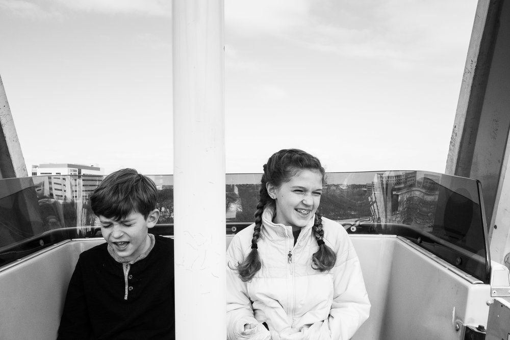 Ella loved the Ferris Wheel; Michael was undecided.