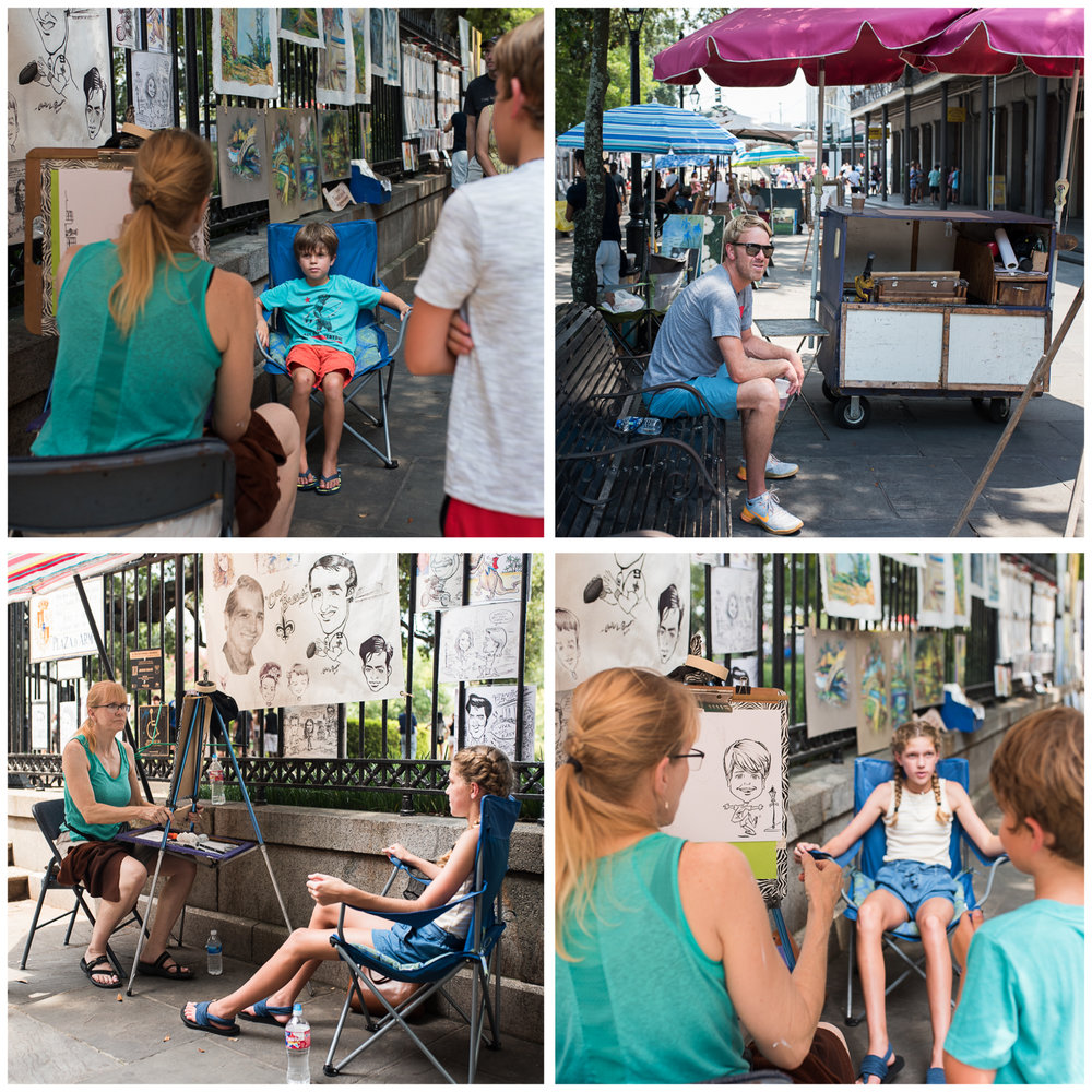After a failed attempt to tour St. Louis Cemetery No. 1 in the blistering heat, we defaulted to Jackson Square where we found the nicest caricature artist ever.