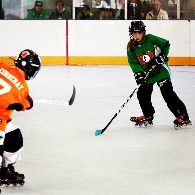"Orange Platypii vs Green Vipers Bantam Division ""Shot Block"" #inlinehockey"