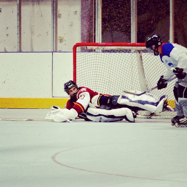 "Adult Novice Coed ""Stacked Pad Save"" #inlinehockey"