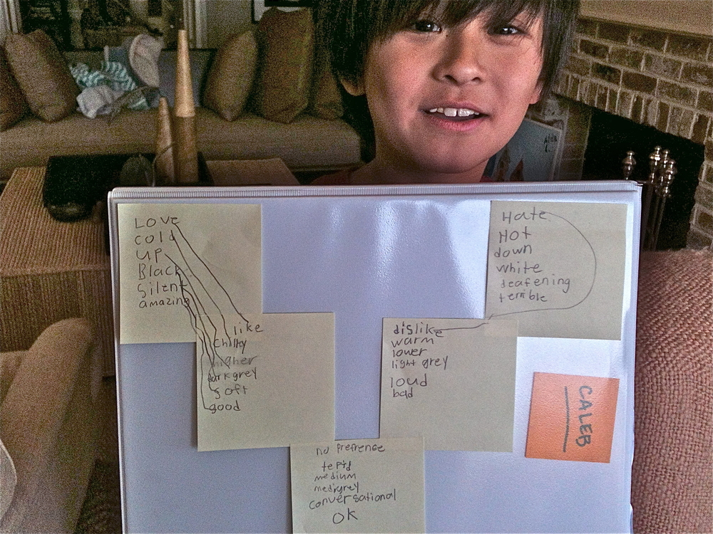 Caleb and his lists of words.