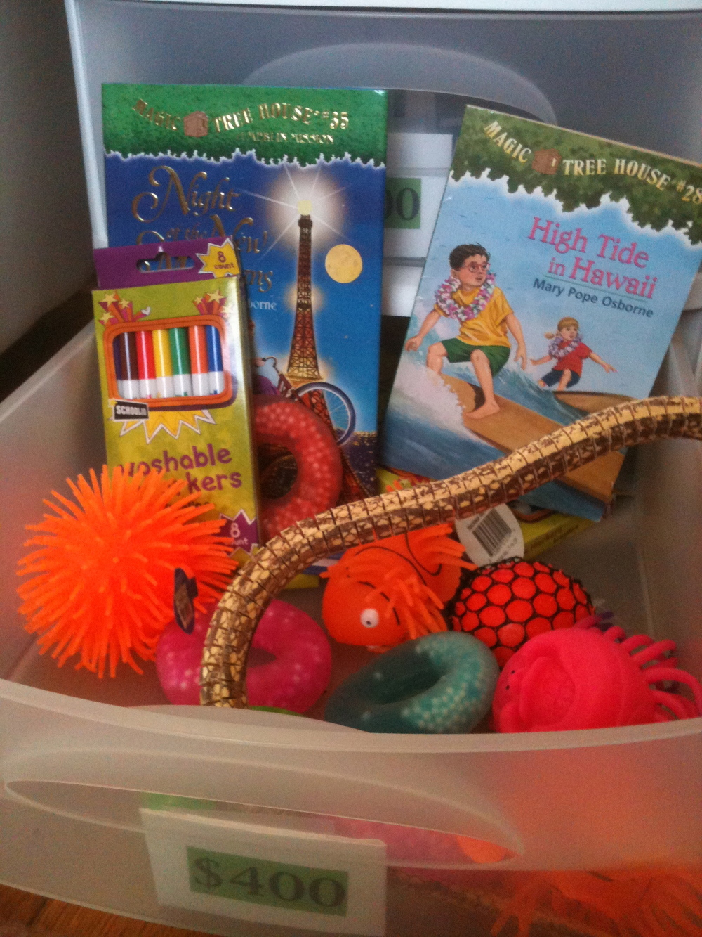 $400 prizes: Markers,  Magic Treehouse Books , Fake Snake, squeezy toys