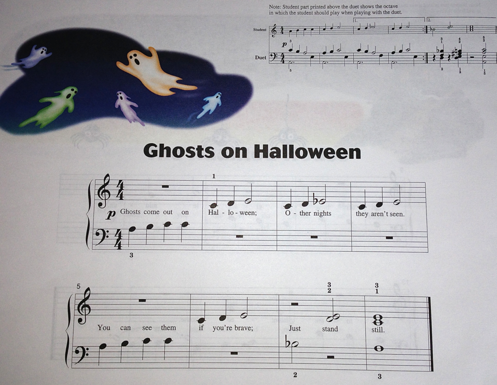 Ghosts on Halloween from  Piano Town Primer Halloween .