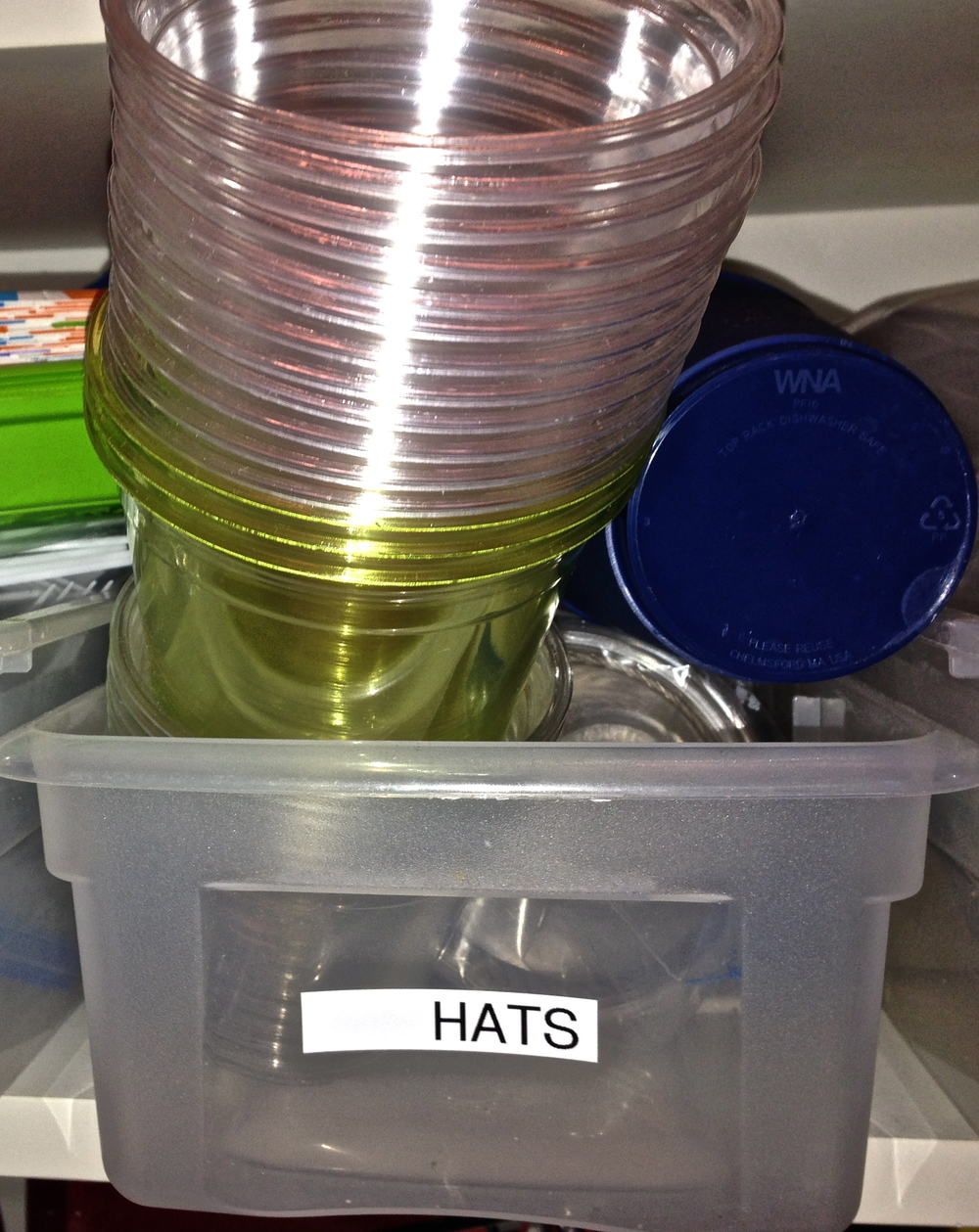 This box, clearly labeled HATS contains exactly no hats.