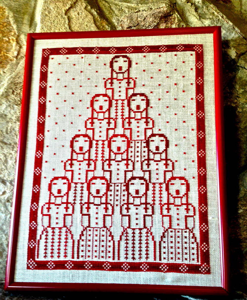 Beautiful Cross-stitch of Girls Singing