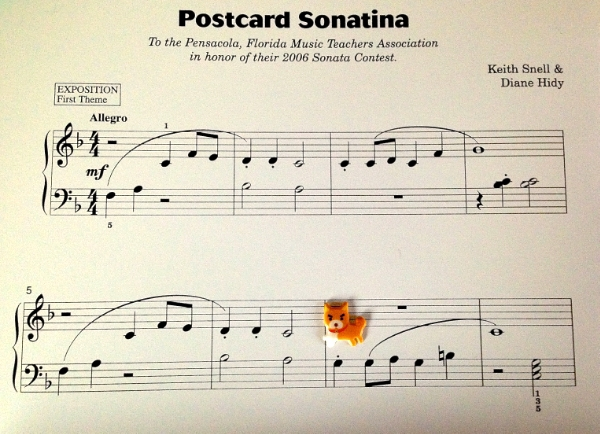 "The second phrase begins like the first but changes at measure 6. Ask the student to find the first note that's different and put a sticker there to remind them about it.  Postcard Sonatina  is a wonderful ""first sonatina."" It uses Middle C Position and C Major Five-Finger Position with interesting articulations."
