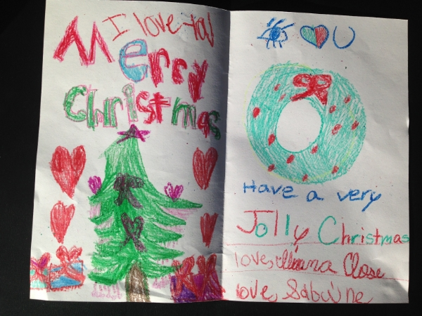 This year's beautiful card from Iliana and Sabine.
