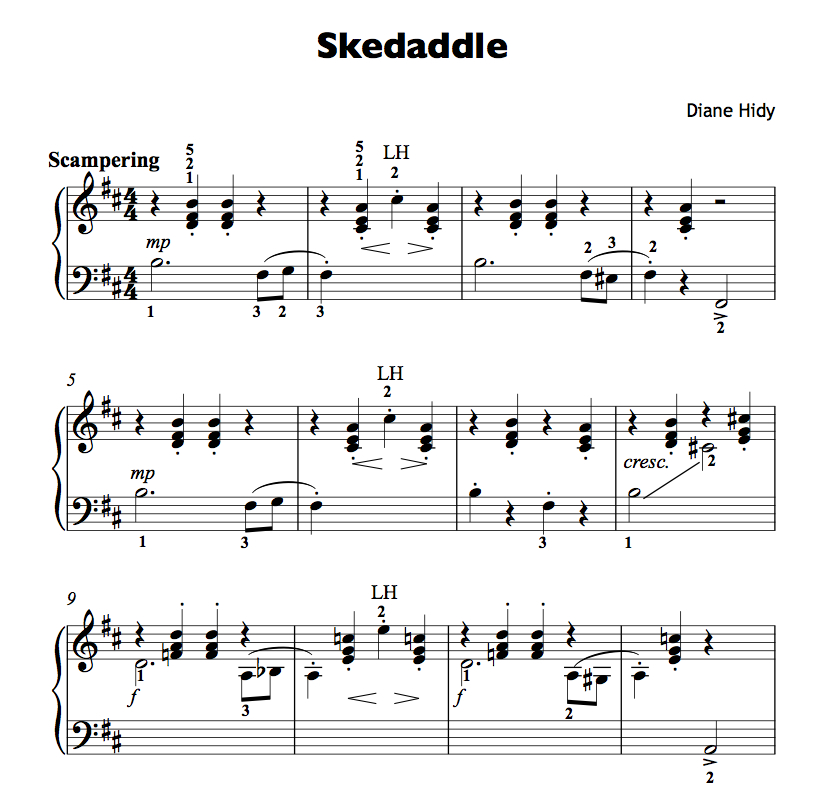 Looking for a flashy, fun intermediate recital piece? Try  Skedaddle !