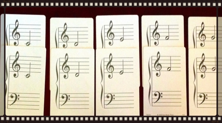 Start with 10 flashcards - two of each note.