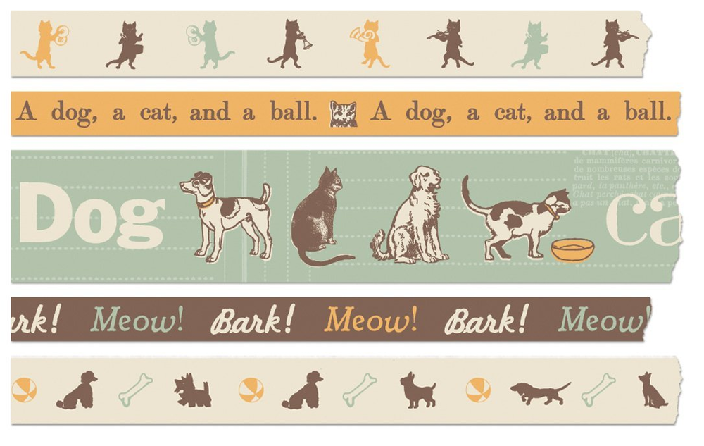 Cavallini makes some exceptionally adorable Washi Tape like this  Dog & Cat tape.