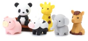 Japanese puzzle erasers including elephant and panda, two student favorites.