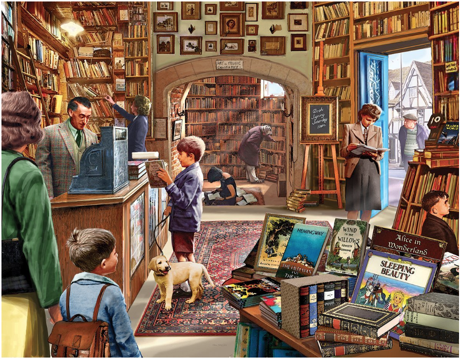 I enjoy spending an afternoon making a jigsaw puzzle and watching the weather change over the Pacific Ocean. This one,  The Old Book Store , is my favorite kind of puzzle. Lots of details and made by White Mountain - a reliably excellent company.