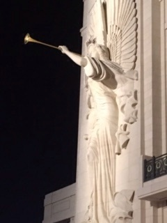 Detail from the front of Bass Hall at night.
