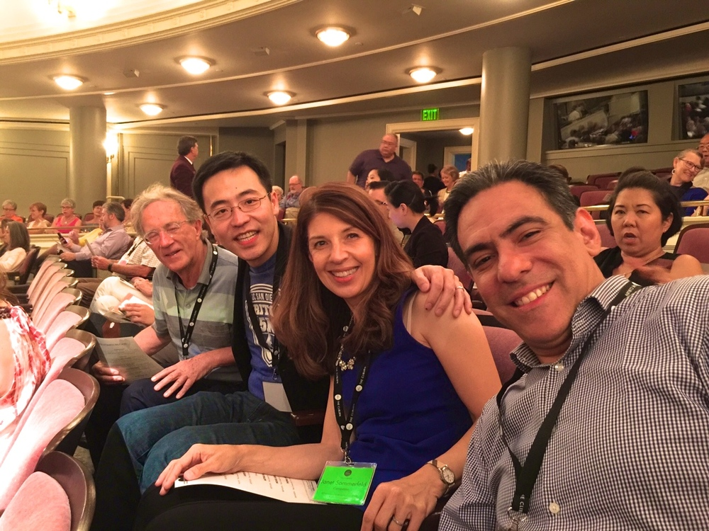 Eberhard Zagrosek, a retired physicist from Germany, Gordon Cheng, a systems analyst from California, Janet Sommerfeld a freelance writer/producer from California and Jorge Zamora, a Sales Director from Mexico sitting together at the final concert.