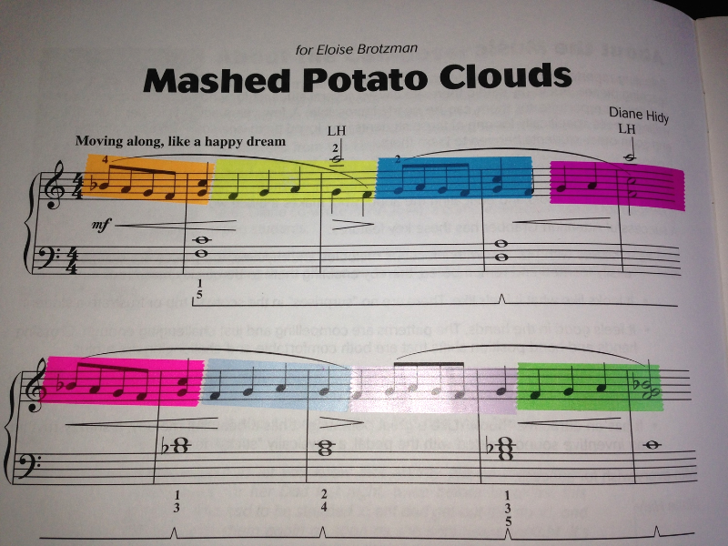 Here's my piece, Mashed Potato Clouds from  Attention Grabbers Book Two  highlighted with different colored tape so you can get an idea what it looks like. Imagine using different colors for different harmonies.