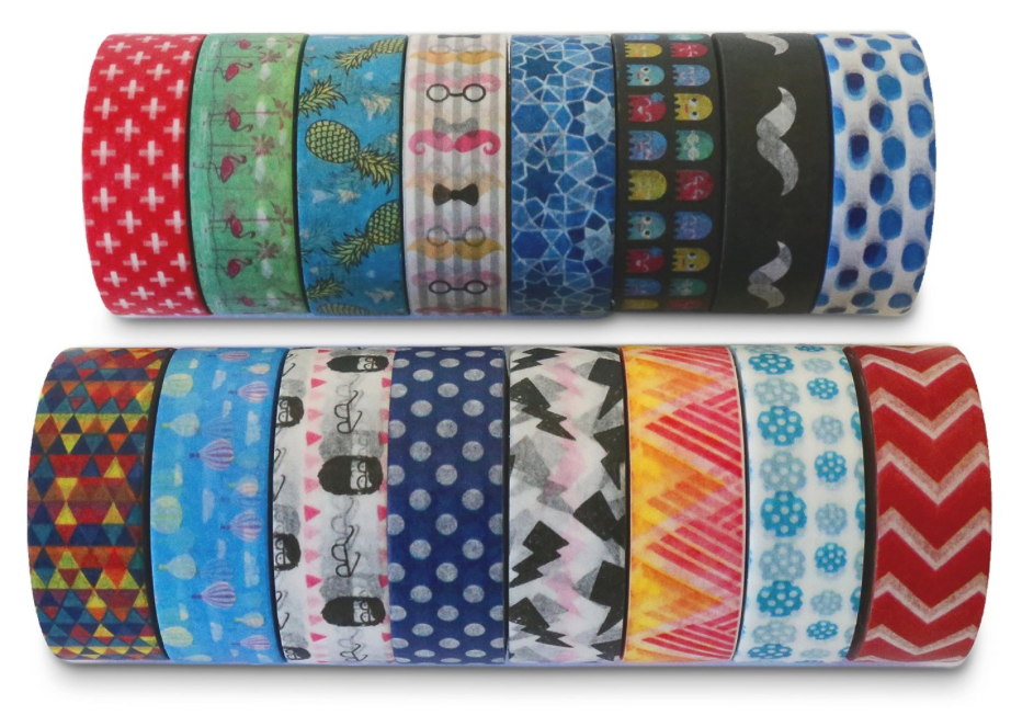 This  Washi Tape Collection  would make an excellent starter set. Each tape is completely different from any other - so it would work well for teaching purposes. The cheapest I've ever found Washi tape anywhere is $1.00 per roll. This is 16 rolls for $16.99 and would be a good way to begin using Washi. Note that each individual roll lasts for a long time. I almost never run out of any of them. (Which is why I have so very many!)