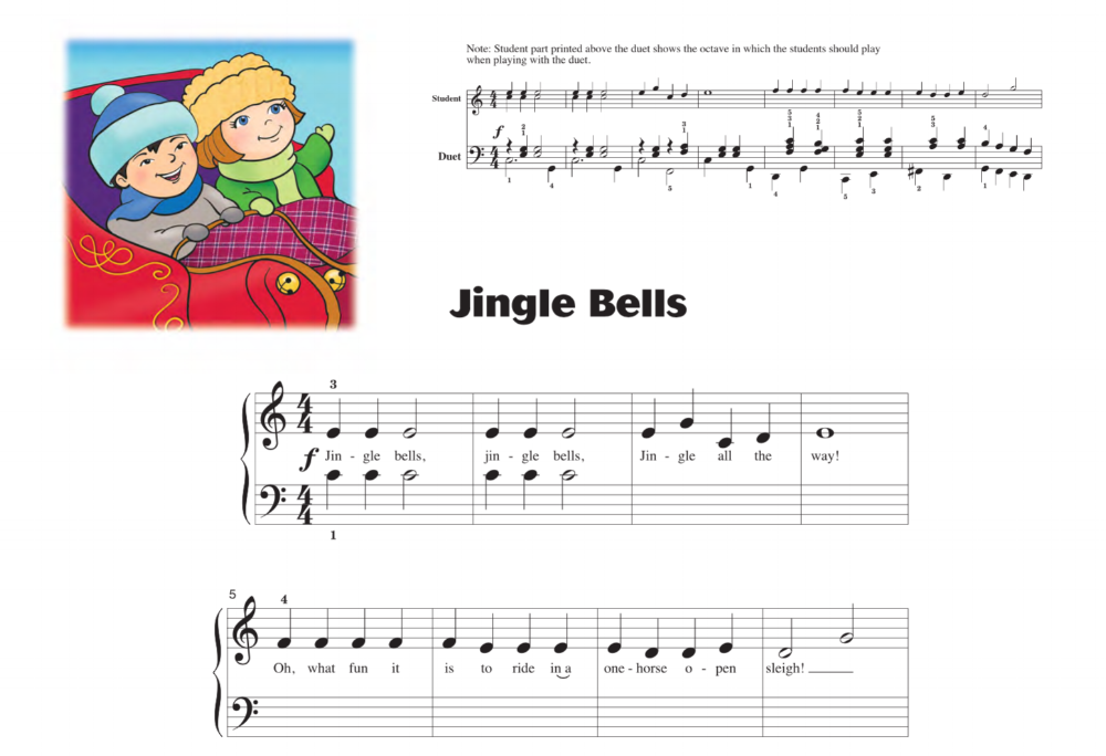 Jingle Bells from Piano Primer Christmas. Each Primer selection includes an accompaniment written by Diane Hidy.