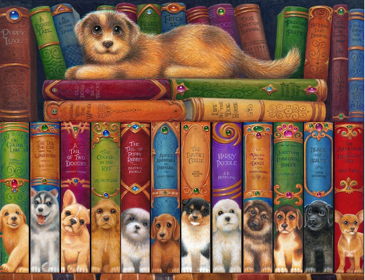 Ever since I got my dog, Charlie, I've been attracted to sweet, doggie things like this hilarious Dog Puzzle. Would so enjoy making this one! Check out the titles of the books.