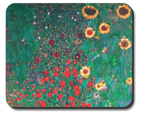 "It's been months now since someone ""borrowed"" my mouse pad and I've been using the hard surface of my computer desk. The one I'd really like is this  Gustav Klimt Sunflowers Mouse Pad ."