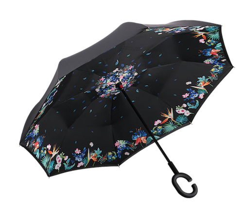 "I want one or two of these! I think this  Black Flowered Umbrella  is beautiful, but it's also got an unusual design. These are inverted umbrellas - they open ""backwards"" so the wet part is on the inside and you can open them from inside a car door."