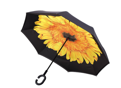 I would also be more than happy with this Bright Yellow Sunflower Umbrella. Also inverted and so cheery.