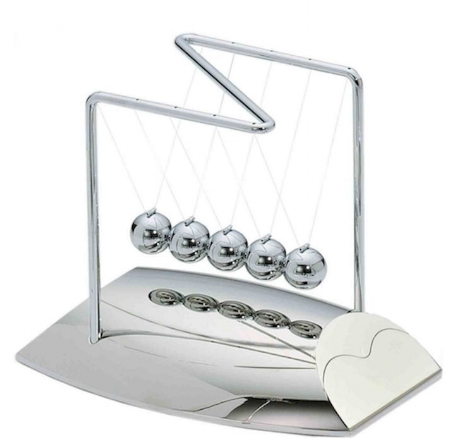 "This is called a  Newton's Cradle . It teaches the concept of the conservation of energy. This particular one has stainless steel wires which are sturdier than the fishing line which mine has. My students love to play with it, and I use it to illustrate how to move one's hands at the keyboard. This is an excellent example of a ""toy"" that teaches. Full disclosure: It makes a bit of noise, so set good limits on its use from the start."