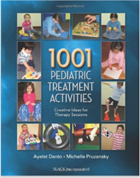 "1001 Pediatric Treatment Activities: Creative Ideas for Therapy Sessions   doesn't look as zippy as some of the other books, but is extremely useful. It's not easily available (or cheap) but Amazon has 50 pages of basic information in the ""Look Inside"" preview. It's free to peruse these pages which include a wide varieties of suggestions for activities that may help you focus and settle down a child with these issues."