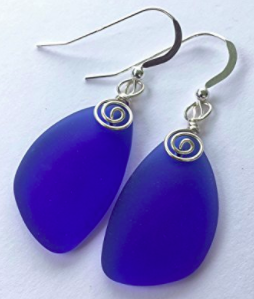 These Sea Glass Earrings are in my favorite color and I like the shape, the color and the texture of the glass and silver accents.