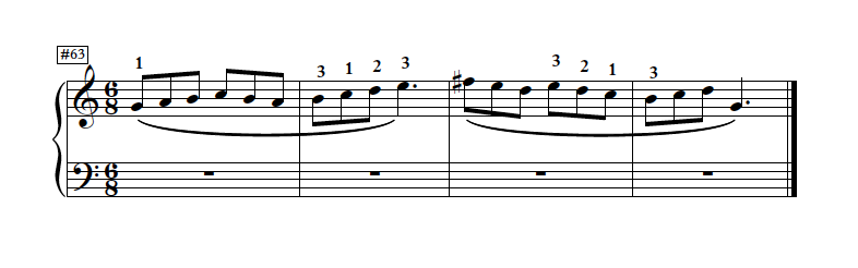 This example from  SMART SCALES  is rhythmically and physically planned to help the student   enjoy   playing a G Major scale. The accidental is written on the note so it's can't be missed. And it sounds like music! Plenty of fingering helps the student negotiate the curves of the melody.