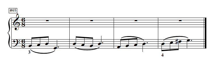 This left hand example doesn't use conventional fingering, but shows the F# as part of a more natural four-finger group. Other examples in this set use the conventional fingering, but let's face it — the traditional G Major fingering is pretty arbitrary.