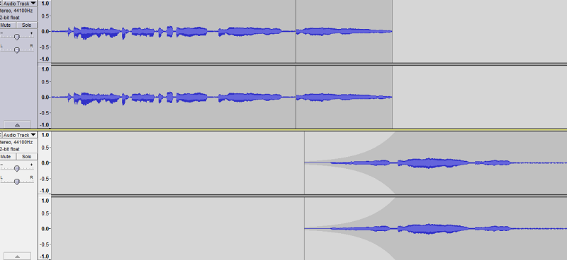 The bottom track has been envelope filtered. I chose a point of articulation at the end and then one where it's at max volume and adjusted it to overlap with my main track.