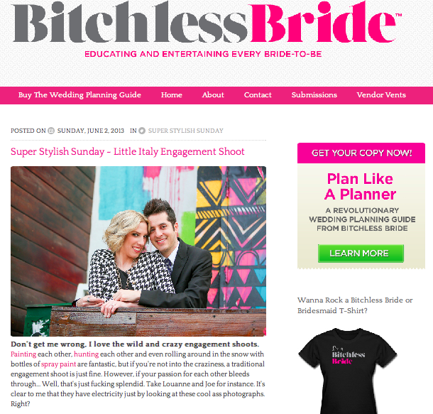 Click the photo to go to the feature on Bitchless Bride!