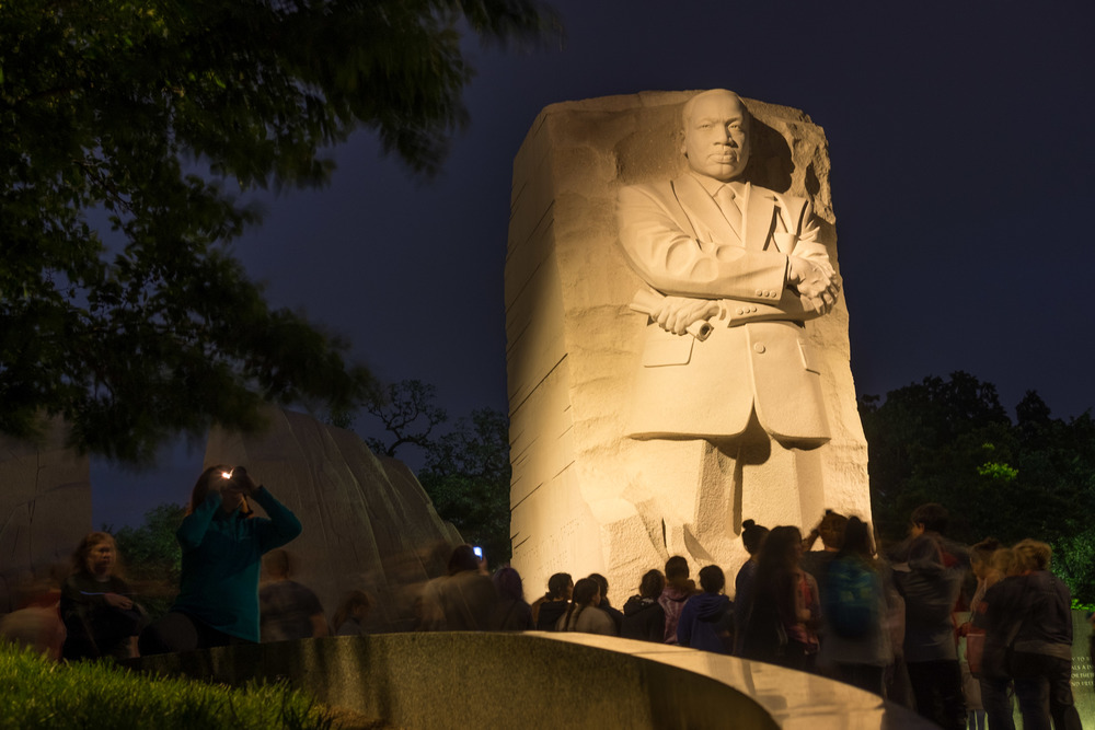 The Martin Luther King Memorial at night