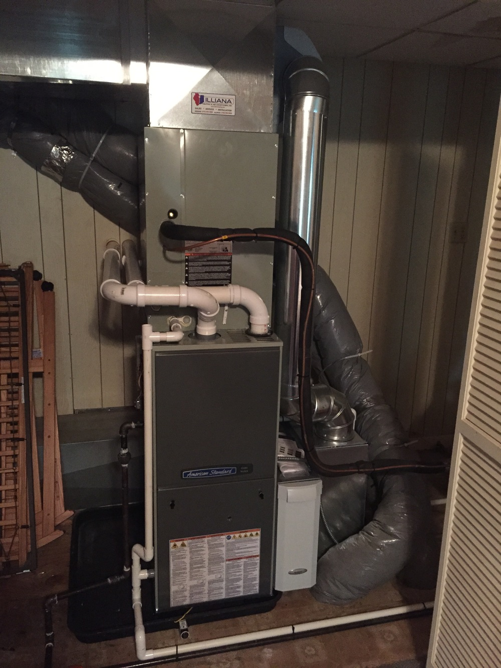 Completed furnace and coil with Air Cleaner and humidifier