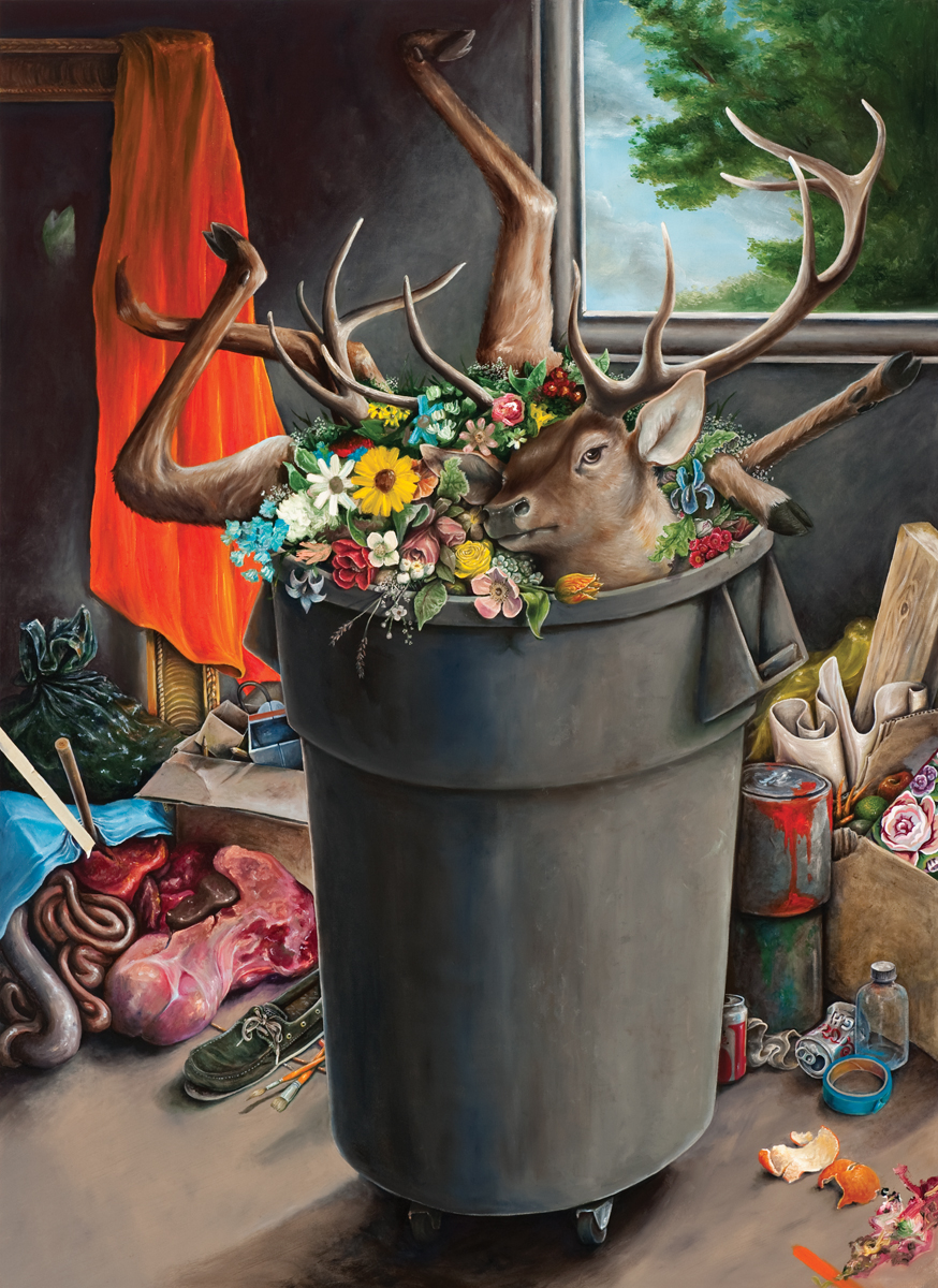 Still Life with Deer in a Garbage Can